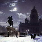 Vasily Ivanovich Surikov - Type monument to Peter I on the Senate Square in St. Petersburg. 1870
