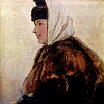 Portrait of a young woman in a fur coat with sleeve. 1890, Vasily Ivanovich Surikov