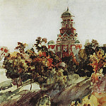 Church in the village Djakova. 1910, Vasily Ivanovich Surikov