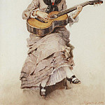 With guitar. Portrait of Princess S. Kropotkin. 1882, Vasily Ivanovich Surikov