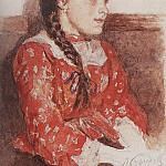 Girl in red sweater. 1892, Vasily Ivanovich Surikov