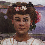 Head girl. Portrait ZS Haminovoy. 1908, Vasily Ivanovich Surikov
