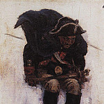 Soldier, coming down the slope of a snowy mountain. 1898, Vasily Ivanovich Surikov