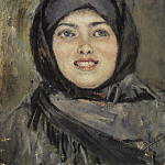 Head laughing girl. 1890, Vasily Ivanovich Surikov