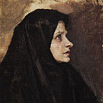 Head of a Woman in a black shawl. 1886, Vasily Ivanovich Surikov