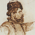 Vasily Ivanovich Surikov - head of a Cossack. 1891