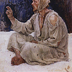 Simpleton, seated on the snow. 1885, Vasily Ivanovich Surikov