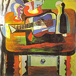 1919 Verre, bouquet, guitare, bouteille, Pablo Picasso (1881-1973) Period of creation: 1919-1930