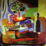 Pablo Picasso (1881-1973) Period of creation: 1919-1930 - 1919 guitare, Bouteille, coupe avec fruits et verre sur la table