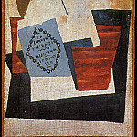 1921 Composition Е la boМte de cigares bleue [Verre et paquet de tabac], Pablo Picasso (1881-1973) Period of creation: 1919-1930