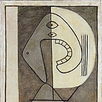 1928 Visage sur fond bicolore, Pablo Picasso (1881-1973) Period of creation: 1919-1930