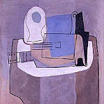 Pablo Picasso (1881-1973) Period of creation: 1919-1930 - 1921 Guitare, bouteille et compotier