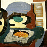 Pablo Picasso (1881-1973) Period of creation: 1919-1930 - 1924 Mandoline, panier de fruits, bouteille et patisserie