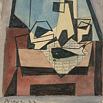 Pablo Picasso (1881-1973) Period of creation: 1919-1930 - 1922 Verre, bouteille, poisson sur un journal