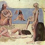 1920 Baigneuses regardant un avion [Cinq baigneuses], Pablo Picasso (1881-1973) Period of creation: 1919-1930