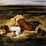 Ferdinand Victor Eugène Delacroix - DELACROIX Eugene A Mortally WOunded Brigand Quenches His Thirst