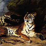 Ferdinand Victor Eugène Delacroix - DELACROIX Eugene A Young Tiger Playing with its Mother