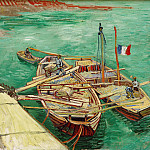 Quay with Men Unloading Sand Barges, Vincent van Gogh