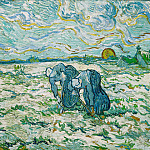 Two Peasant Women Digging in Field, Vincent van Gogh