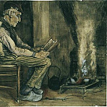 Farmer Sitting at the Fireside, Reading, Vincent van Gogh