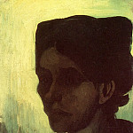 Head of a Young Peasant Woman with Dark Cap, Vincent van Gogh