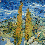 Two Poplars on a Road Through the Hills, Vincent van Gogh
