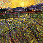 Wheat Field with Rising Sun, Vincent van Gogh