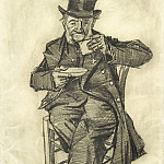 Old Man with Top Hat, Drinking Coffee