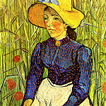 Vincent van Gogh - Young Peasant Woman with Straw Hat Sitting in the Wheat