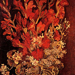 Vase with Gladioli and Carnations, Vincent van Gogh