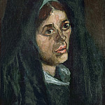 Lorenzo Costa - Head of a Peasant Woman in a Green Shawl