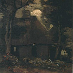 Vincent van Gogh - Cottage with Trees and Peasant Woman