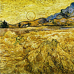 Wheat Field with Reaper and Sun, Vincent van Gogh