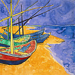 Fishing Boats on the Beach, Vincent van Gogh