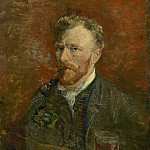 Self-Portrait with Pipe and Glass, Vincent van Gogh