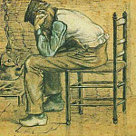 Peasant Sitting by the Fireplace, Vincent van Gogh