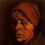 Head of a Peasant Woman with Brownish Cap, Vincent van Gogh