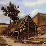 Cottage with Decrepit Barn and Stooping Woman, Vincent van Gogh