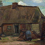 Cottage with Peasant Woman Digging, Vincent van Gogh