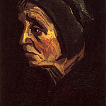 Head of a Peasant Woman with Black Cap, Vincent van Gogh