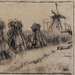 Vincent van Gogh - Wheat Field with Sheaves and a Windmill
