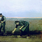 Ploughman with Woman Planting Potatoes, Vincent van Gogh