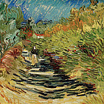 A Road at Saint-Remy with Female Figure, Vincent van Gogh