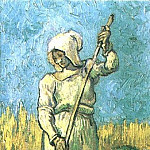 Peasant Woman with a Rake , Vincent van Gogh