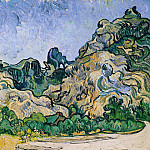 Mountains at Saint-Remy with Cottage, Vincent van Gogh