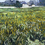 Wheat Field at Auvers with White House, Vincent van Gogh