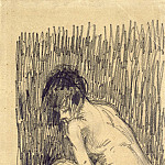 Nude Woman Squatting over a Basin