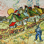 Thatched Cottages in the Sunshine, Vincent van Gogh