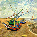 Fishing Boats on the Beach at Saintes-Maries, Vincent van Gogh