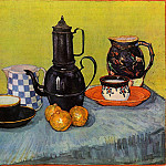 Still Life – Blue Enamel Coffeepot, Earthenware and Fruit, Vincent van Gogh